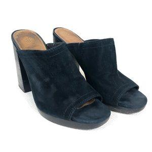 FRYE | Karissa Mule Black Suede Heeled Size 8M